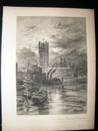 A. Brunet Debaines 1902 Etching, Houses of Parliament, Westminster, London